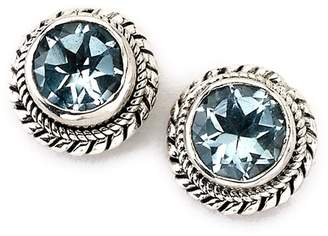 Samuel B Jewelry Sterling Silver Round Blue Topaz Stud Earrings