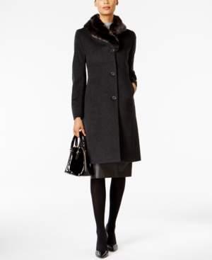 Jones New York Faux-Fur-Trim Maxi Coat