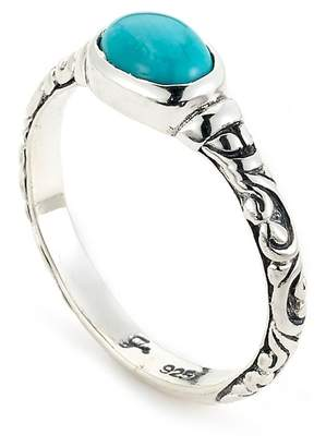 Samuel B Jewelry Sterling Silver Oval-Cut Sleeping Beauty Turquoise Ring