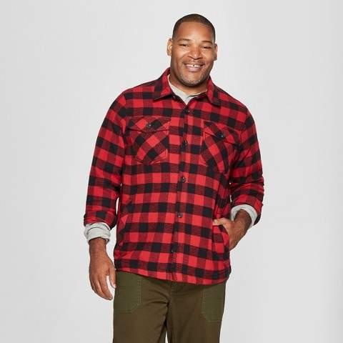 Goodfellow & Co Men's Big & Tall Long Sleeve Buffalo Check Plaid Wool Blend Shirt Jacket - Goodfellow & Co Ripe Red