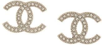 Chanel Pre-Owned rhinestone CC logo earrings