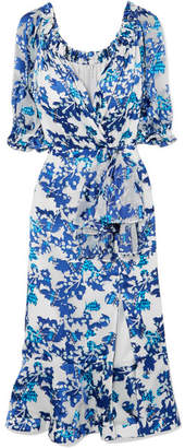 Saloni Olivia Floral-print Fil Coupé Midi Dress - Blue