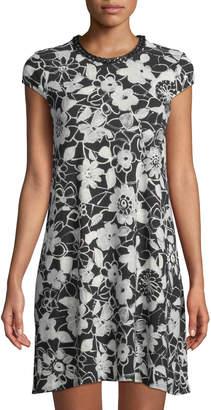 Karl Lagerfeld Paris Chain-Neck Lace-Print Trapeze Dress