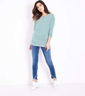 New Look Maternity Blue Cross Fray Hem Under Bump Jeans