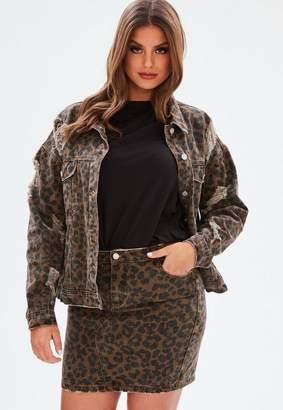 Missguided Curve Brown Leopard Print Denim Mini Skirt