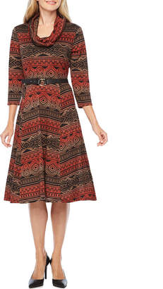 Robbie Bee 3/4 Sleeve Ombre Fit & Flare Dress