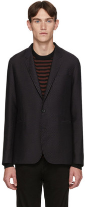 Paul Smith Navy and Brown Wool Zig-Zag Mid-Fit Blazer