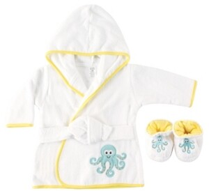 Baby Vision Luvable Friends Bath Robe with Slippers, Octopus, 0-9 Months