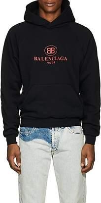 Balenciaga Men's Logo Cotton-Blend Fleece Hoodie