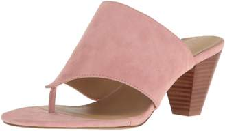 Adrienne Vittadini Footwear Women's Prusha Cone Heel Thong Dress Sandal, Bridal Rose Kid Suede