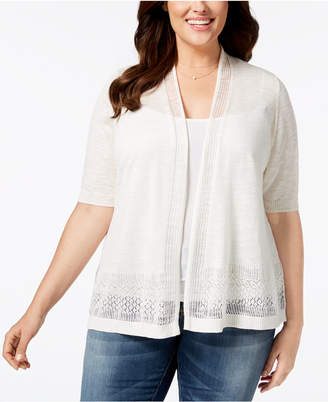 Charter Club Plus Size Open-Front Pointelle Cardigan