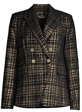 Elie Tahari Women's Jezebel Metallic Tweed Double-Breasted Blazer - Size 0