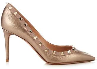 Valentino Rockstud Grained Leather Pumps - Womens - Gold