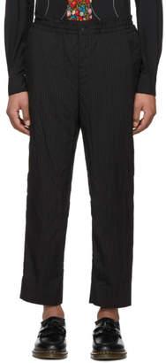Comme des Garcons Homme Deux Black Pinstripe Elastic Waist Trousers
