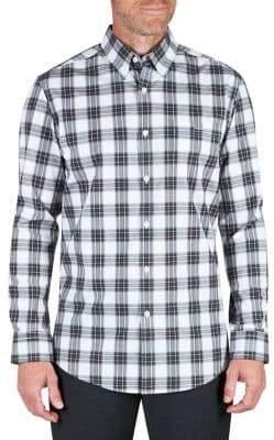 Haggar Heritage Plaid Poplin Regular-Fit Button-Down Shirt