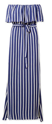Alice + Olivia Alice Olivia - Grazi Off-the-shoulder Striped Voile Maxi Dress - Blue