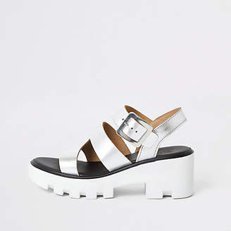 River Island Silver metallic cleated sandals