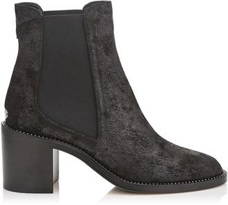 Jimmy Choo MERRIL 65 Black Wetlook Suede Ankle Boots with Crystal Welt