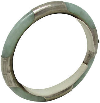 One Kings Lane Vintage Sterling & Jade Hinged Bangle - Thanks for the Memories