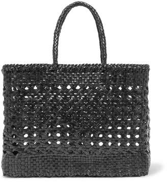 Dragon Optical Diffusion Cannage Big Woven Leather Tote - Black