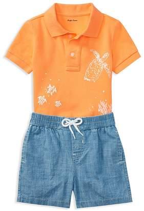 Ralph Lauren Boys' Mesh Graphic Polo & Chambray Shorts Set - Baby