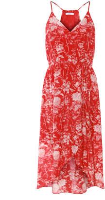 Dex Floral Print Halter Faux Wrap Dress