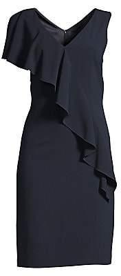 Elie Tahari Women's Kailey Ruffle-Front Crepe Dress