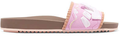 Fendi - Bow-embellished Embroidered Stretch-knit And Leather Slides - Pink