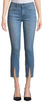 Alice + Olivia AO.LA by Alice+Olivia Good Mid-Rise Straight-Leg Ankle Jeans w/ Front Slit