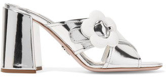 Prada - Embellished Mirrored-leather Mules - Silver $655 thestylecure.com