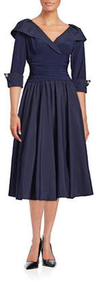 Eliza J Shawl Collar Taffeta Gown