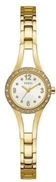 GUESS Petite Crystal-Trimmed Yellow Goldtone Stainless Steel G-Link Watch