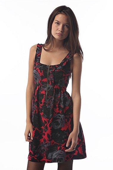 Kimchi Blue Printed Zip Pleat Ruffle Dress