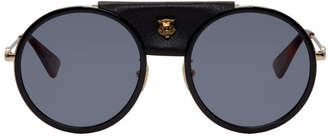 Gucci Black Round Leather Cover Sunglasses