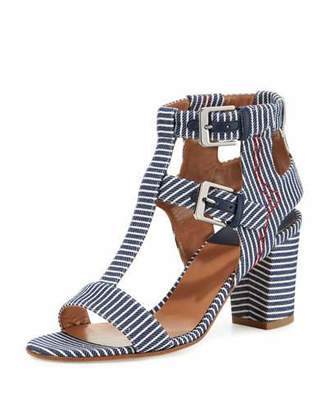 Laurence Dacade Helie Striped Canvas Sandal, Navy $695 thestylecure.com