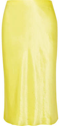 Vince Hammered-satin Skirt - Yellow