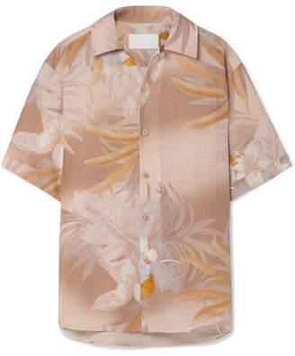 Maison Margiela Printed Bonded Linen And Cotton-blend Shirt - Beige