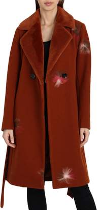 Badgley Mischka Felted Embroidery Wool Blend Coat