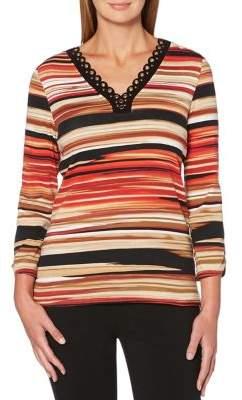 Rafaella Striped Grommet Top