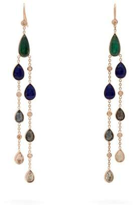 Com Jacquie Aiche Emerald Tourmaline Diamond Drop Earrings Womens Blue