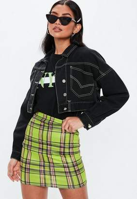 Missguided Lime Plaid Faux Leather Mini Skirt