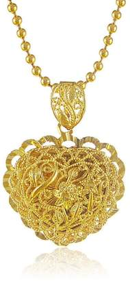 CS-DB Gold 24K Real Gold Plated Wrest Rope Flower Heart Pendant Women Necklace 19.2inch