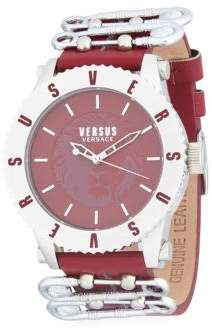 Versace Water Resistant Stainless Steel Leather-Strap Watch