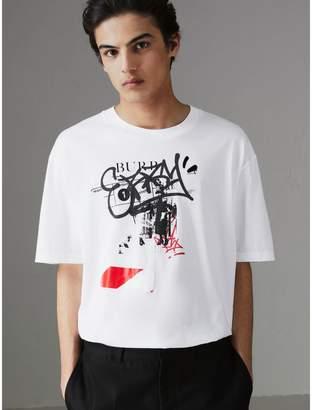 Burberry Graffitied Ticket Print Cotton T-shirt