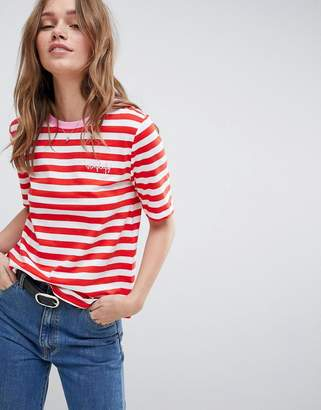 Only Anabella Striped Embroidered T-shirt