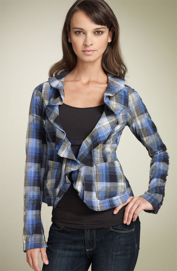 Free People 'Liberty' Ruffled Plaid Blazer