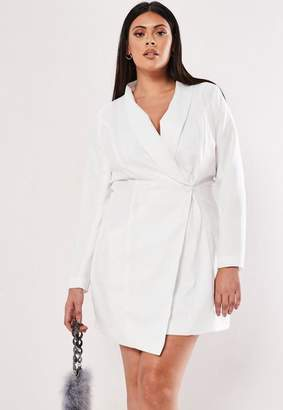 Missguided Plus Size White Asymmetric Blazer Dress