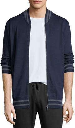 Slate & Stone Men's Varsity Zip-Front Wool Sweater, Blue