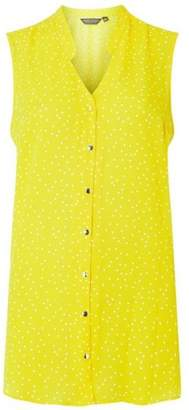 Dorothy Perkins Womens **Tall Yellow Spotted Sleeveless Shirt