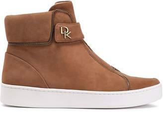 DKNY Zip-embellished Suede High-top Sneakers